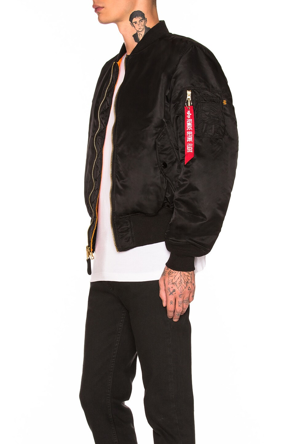 Image 4 of ALPHA INDUSTRIES MA-1 Blood Chit Bomber in Black