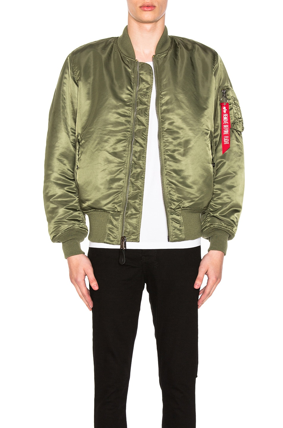 Image 1 of ALPHA INDUSTRIES MA-1 Blood Chit Bomber Jacket in Sage