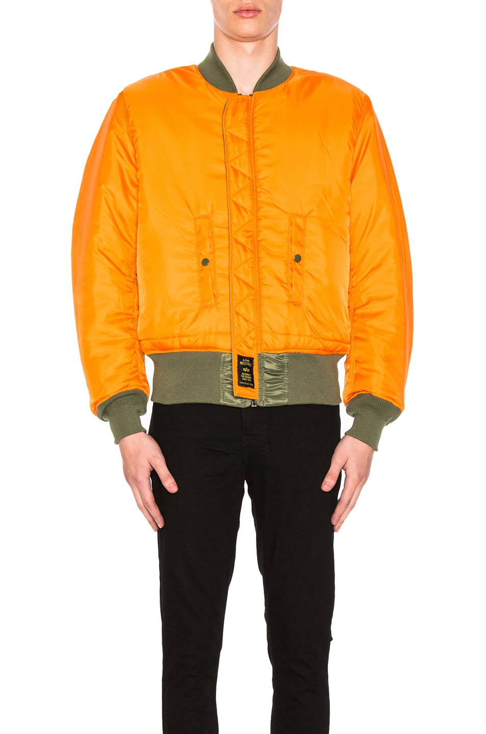 Image 2 of ALPHA INDUSTRIES MA-1 Blood Chit Bomber Jacket in Sage