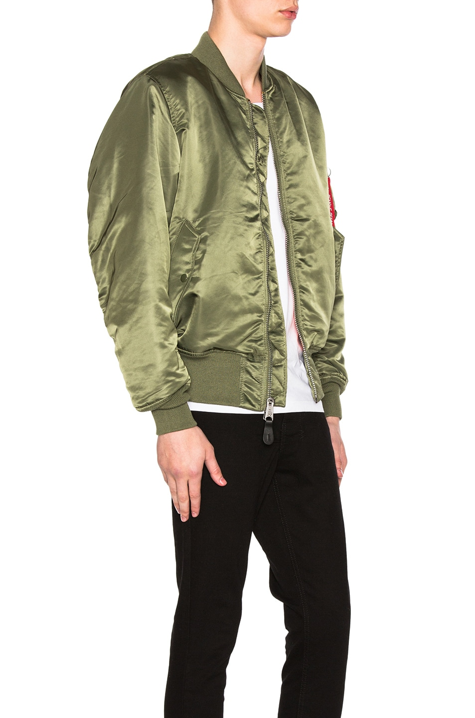Image 3 of ALPHA INDUSTRIES MA-1 Blood Chit Bomber Jacket in Sage