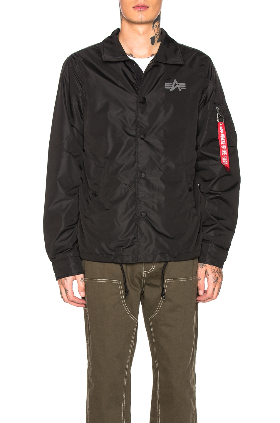 Image 2 of ALPHA INDUSTRIES Lightweight Coaches Jacket in Black