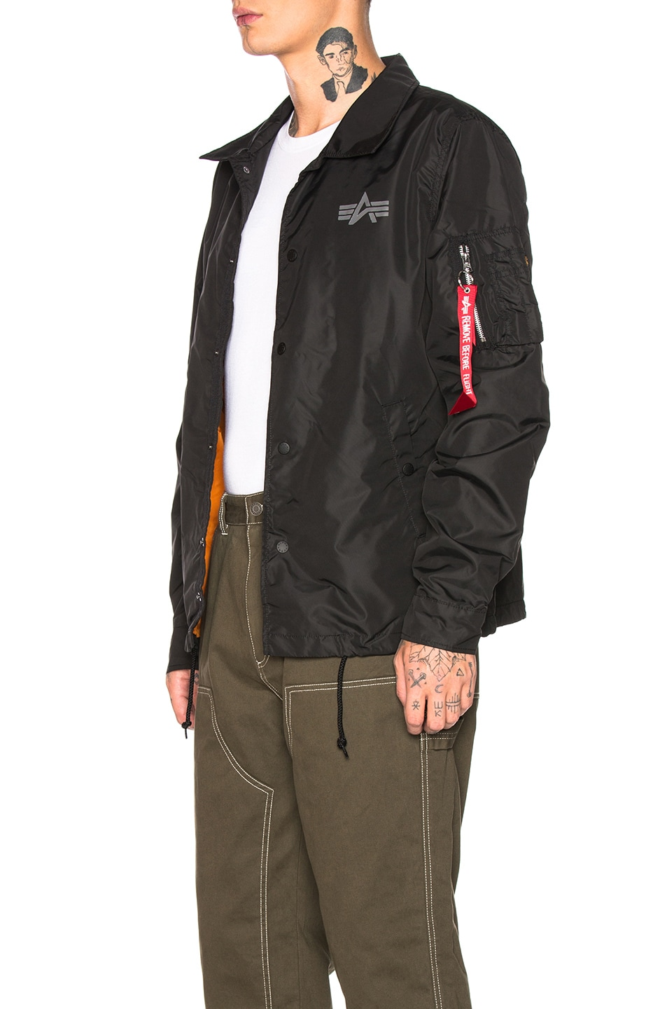 Image 4 of ALPHA INDUSTRIES Lightweight Coaches Jacket in Black