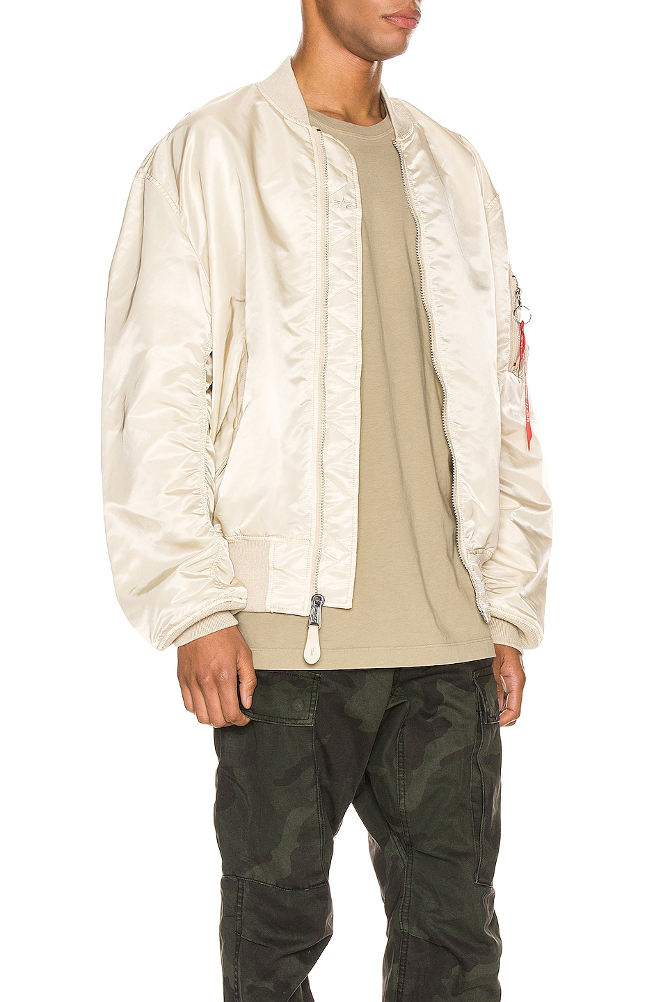 Image 3 of ALPHA INDUSTRIES L-2B Loose Flight Jacket in Vintage White