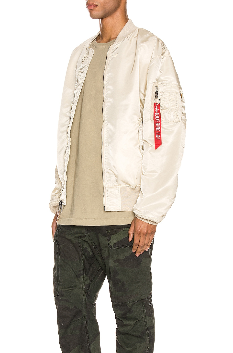 Image 4 of ALPHA INDUSTRIES L-2B Loose Flight Jacket in Vintage White