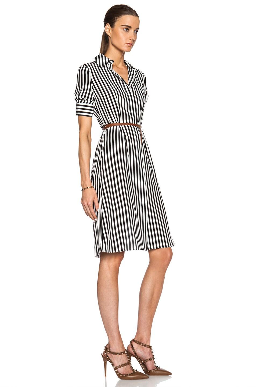 Image 3 of Altuzarra Kieran Stripe Print Crepe De Chine Dress in Black