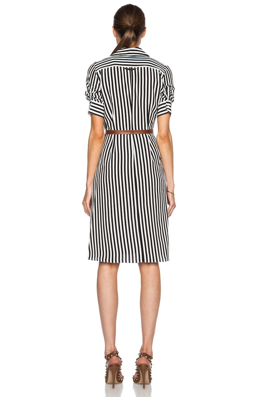 Image 4 of Altuzarra Kieran Stripe Print Crepe De Chine Dress in Black