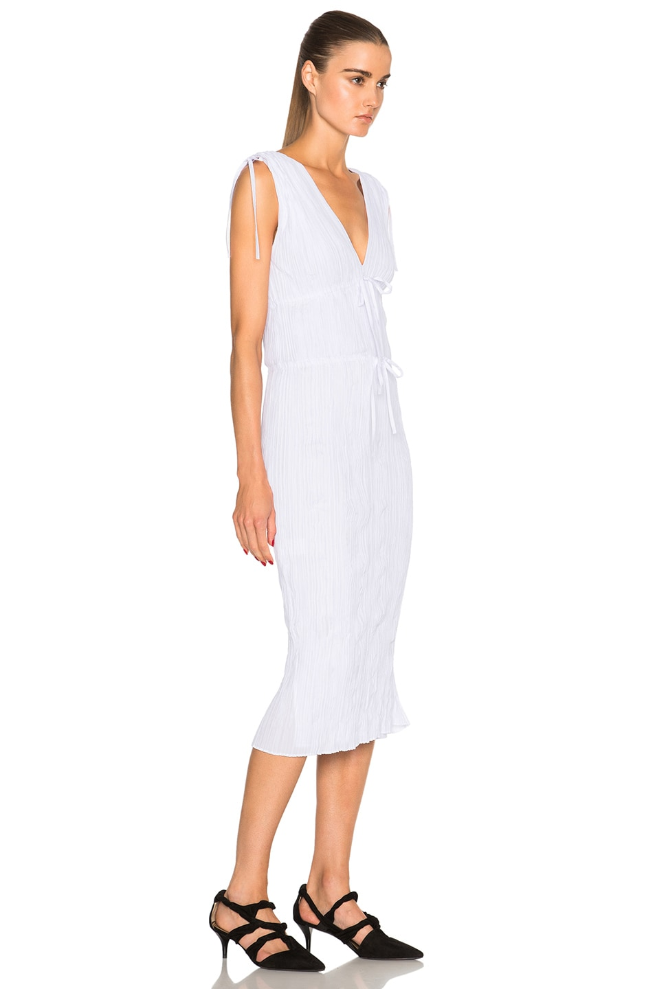 Image 3 of Altuzarra Navarre Featherweight Crepe Dress in Optic White