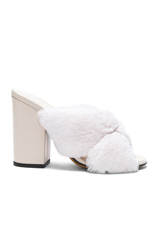 ALUMNAE Rabbit Fur X Slide Block Heels in . Rm2qRe8