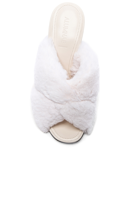 b2e236cdc59 Image 4 of ALUMNAE Soft X Slide Rabbit Fur Block Heels in Bianco Fur