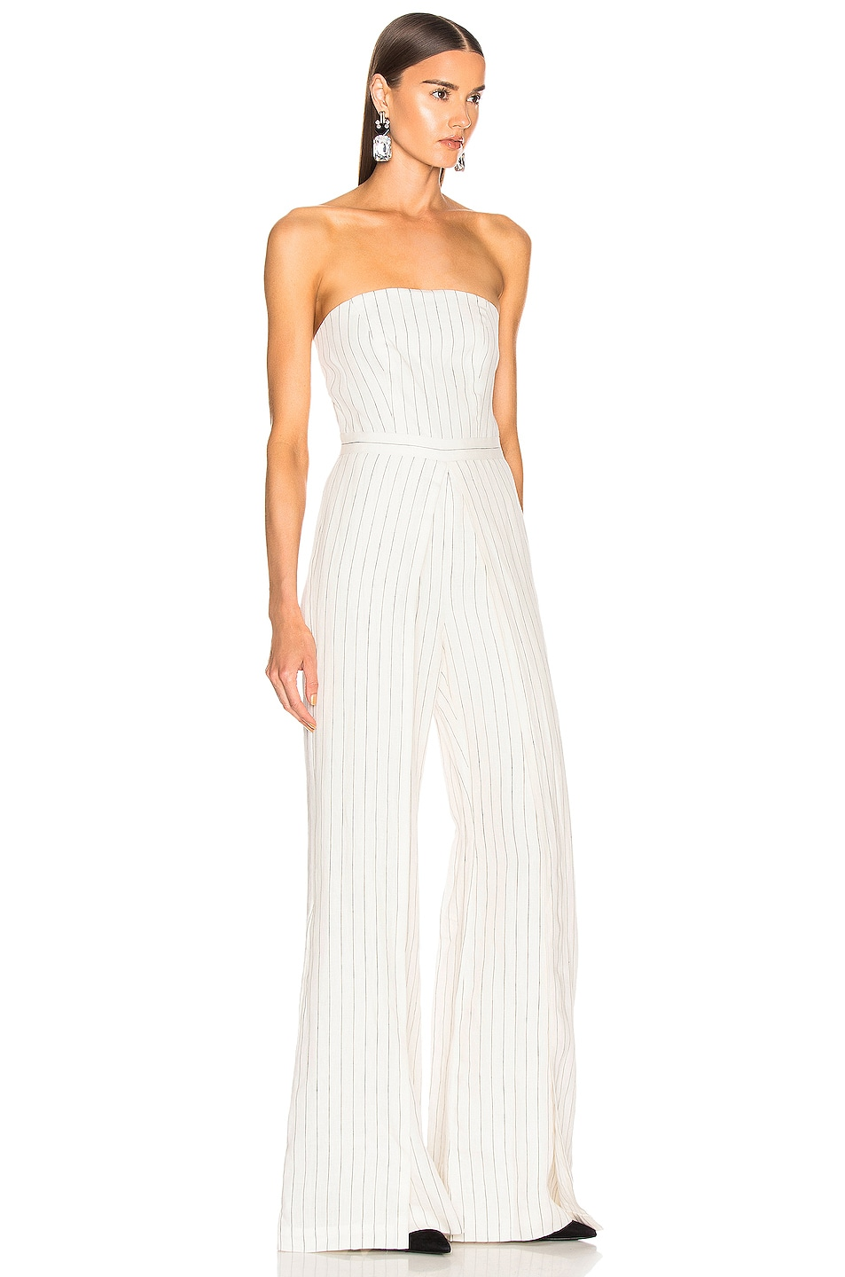 Image 2 of Alexis Charlize Jumpsuit in White Pinstripe