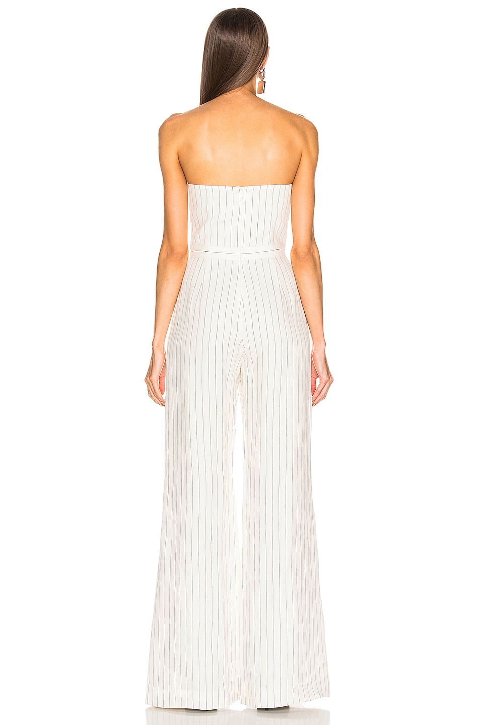 Image 3 of Alexis Charlize Jumpsuit in White Pinstripe