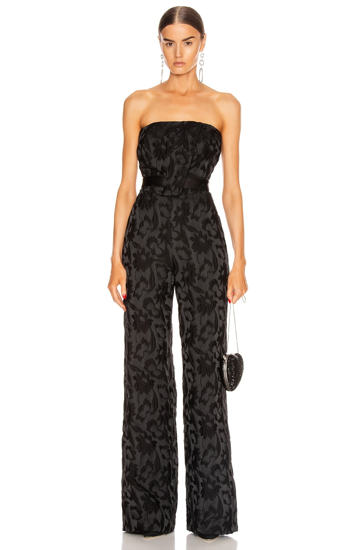 Image 1 of Alexis Venetia Jumpsuit in Black Floral Jacquard