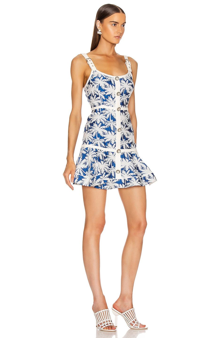 Image 2 of Alexis Lisel Dress in Blue Palm Jacquard
