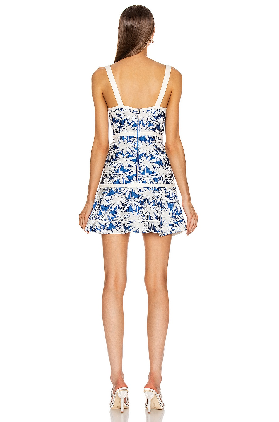 Image 3 of Alexis Lisel Dress in Blue Palm Jacquard