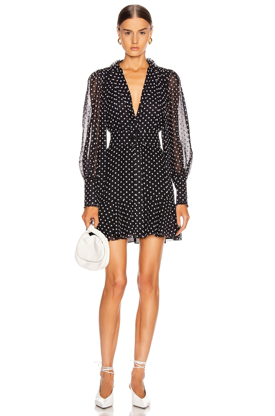 Image 1 of Alexis Ivette Dress in Black Embroidered Dot