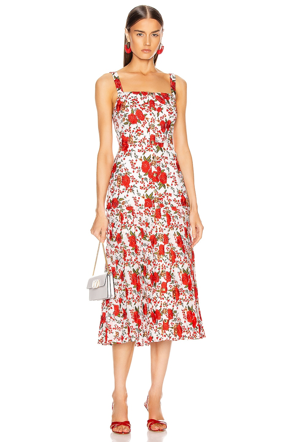 Image 1 of Alexis Amal Midi Dress in Rose Embroidery