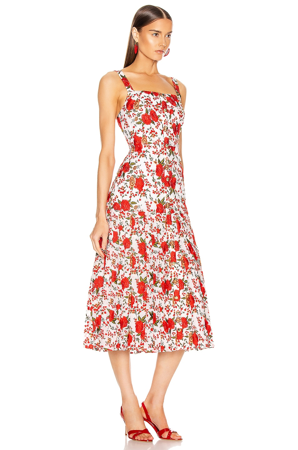 Image 2 of Alexis Amal Midi Dress in Rose Embroidery