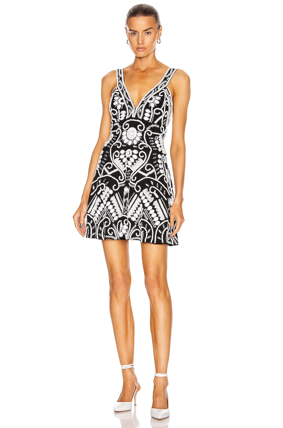 Image 1 of Alexis Jerza Dress in Black & White Embroidered
