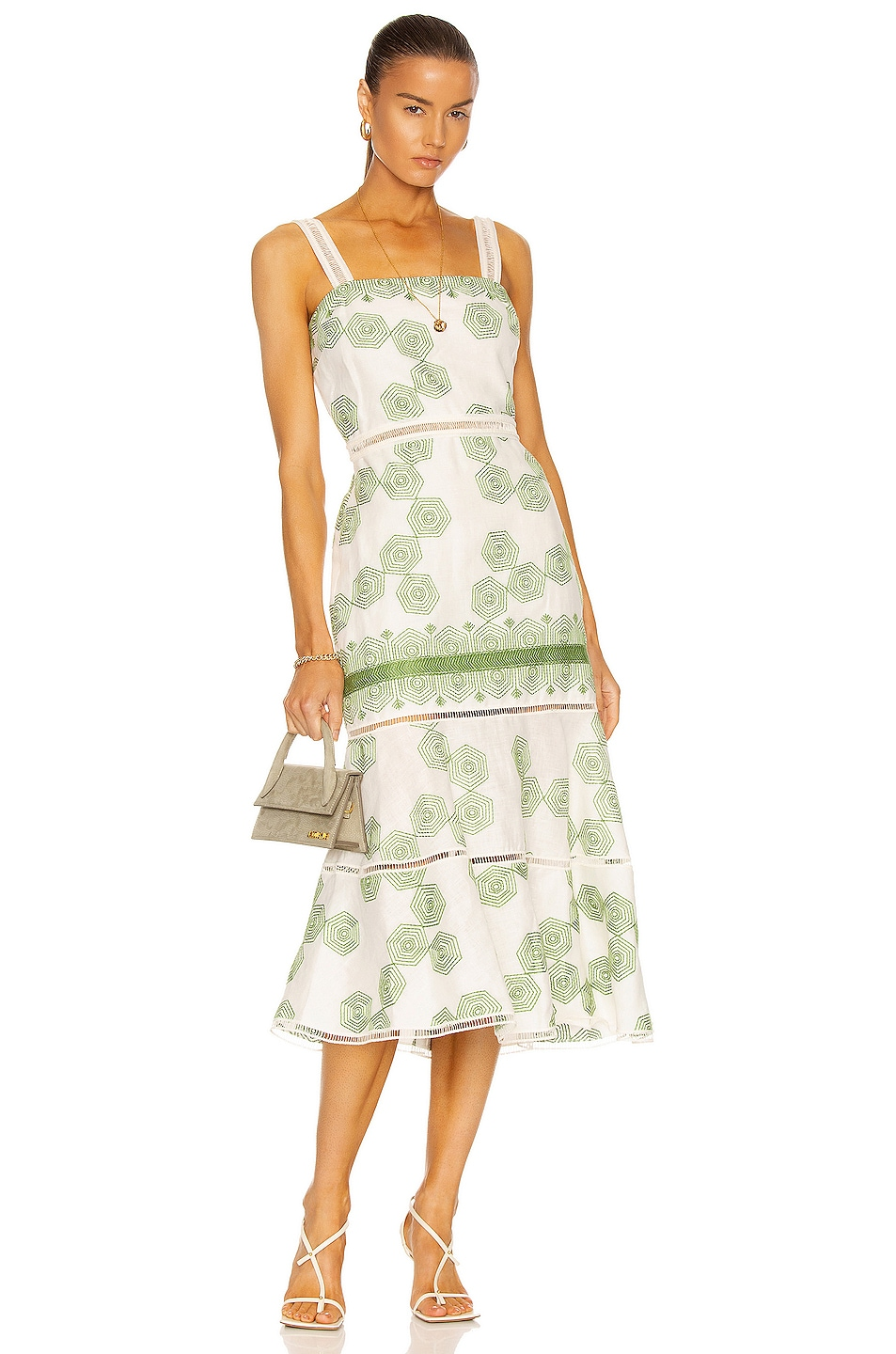 Image 1 of Alexis Delanna Dress in Green Embroidery