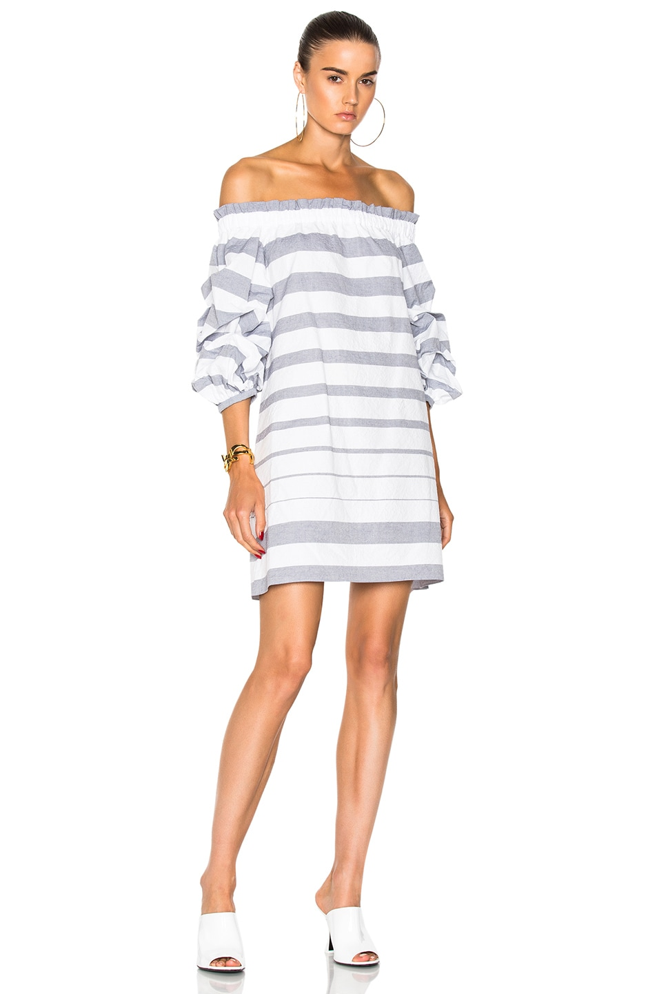 Image 1 of Alexis Olevetti Dress in Blue & White Stripes