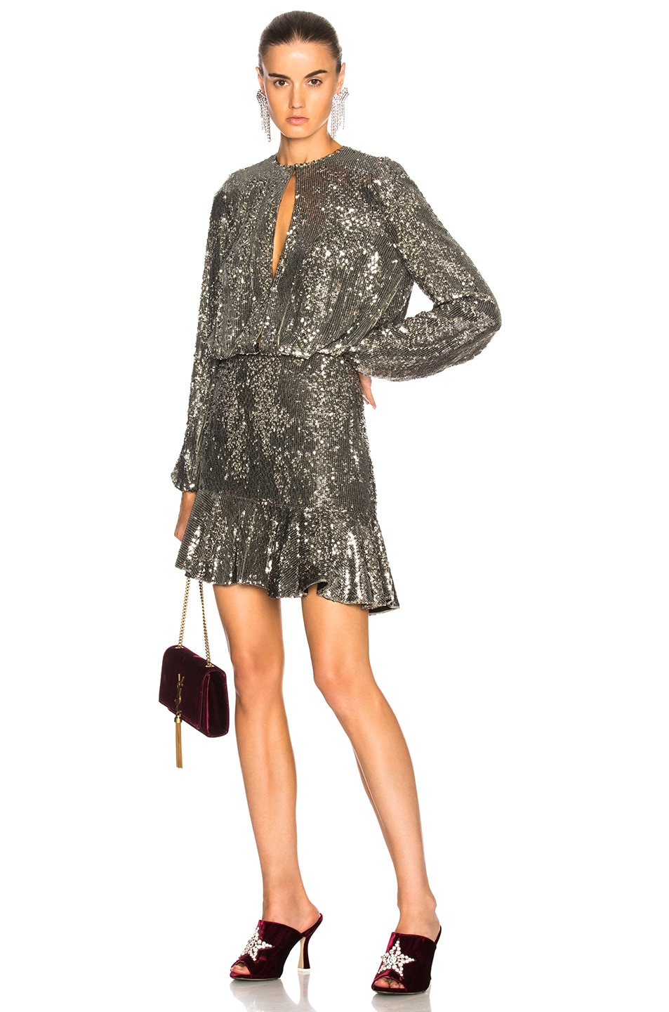 alexis tamera dress in silver sequin | fwrd