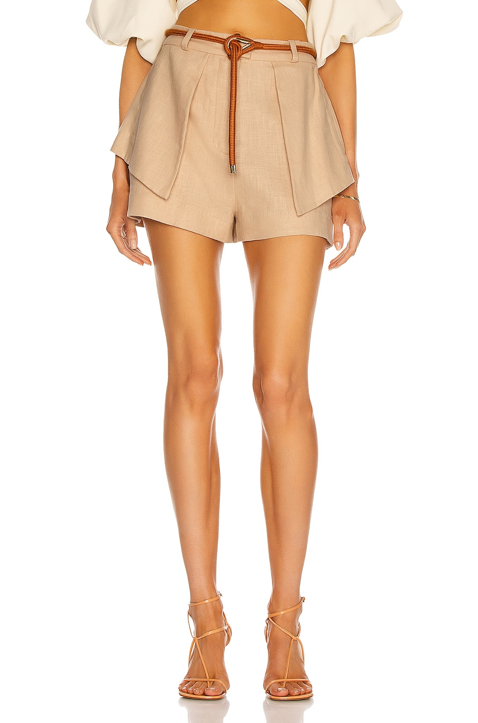 Image 1 of Alexis Tegan Belted Short in Fawn