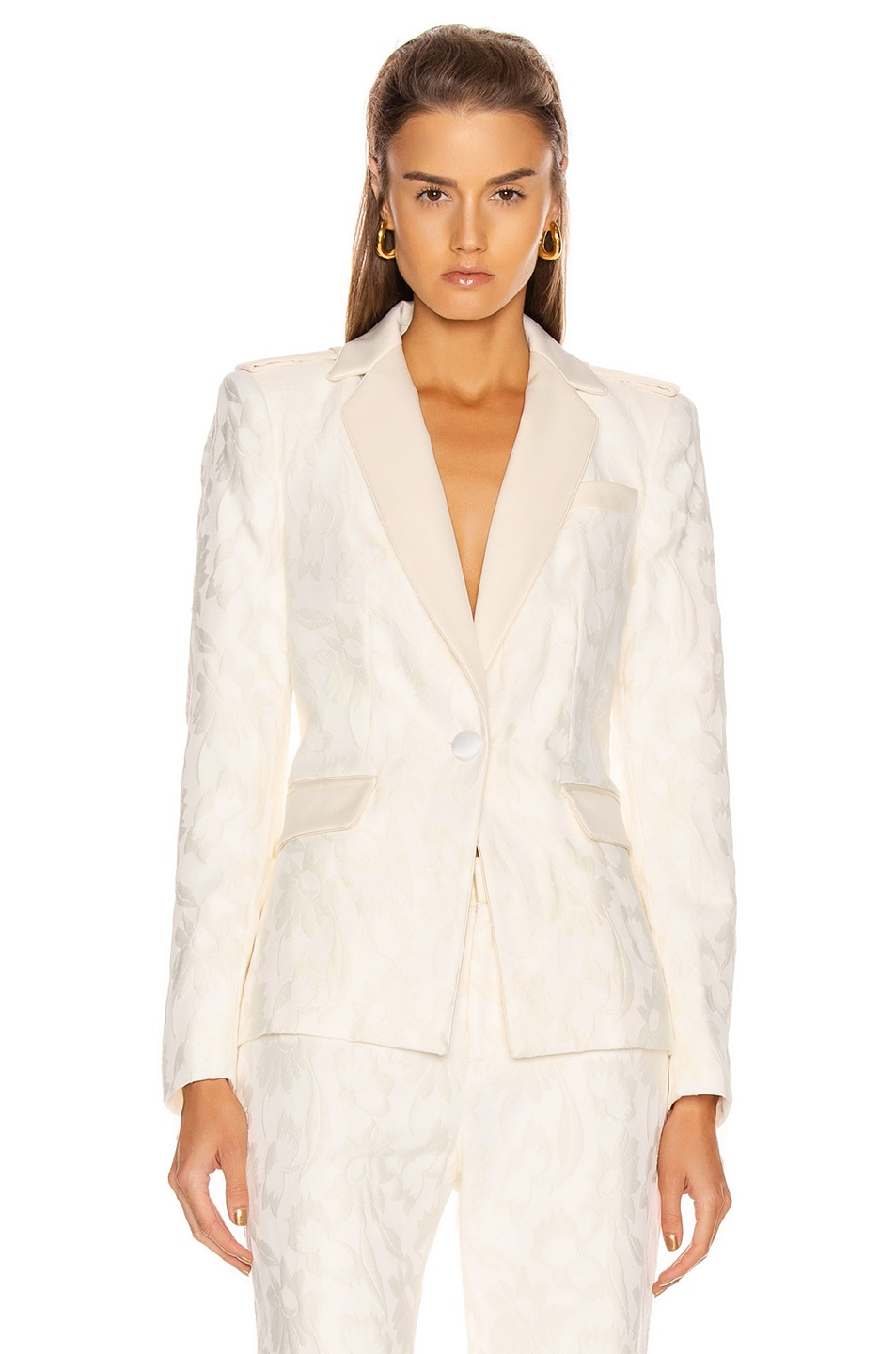 Image 1 of Alexis Claudya Jacket in White Floral Jacquard