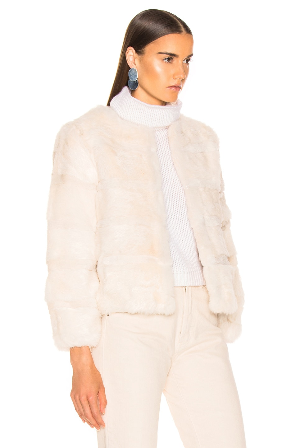 Image 3 of Alexis Amos Fur Jacket in Ivory