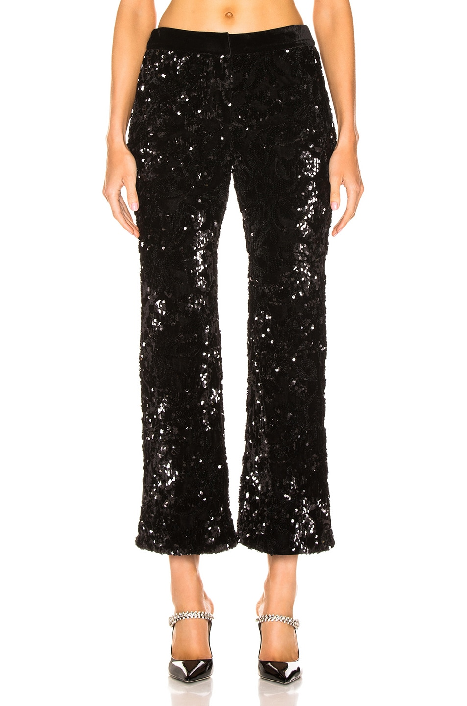 Image 1 of Alexis Pace Crop Pant in Black Sequins