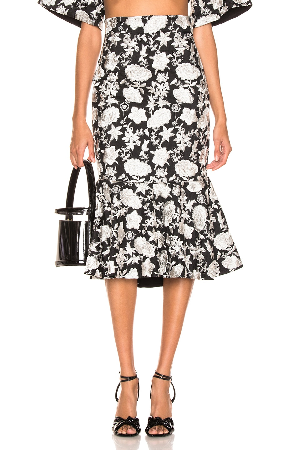 Image 1 of Alexis Reece Skirt in Ivory Floral Embroidery
