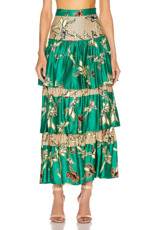 Image 1 of Alexis Honoka Skirt in Jade Green Orchid