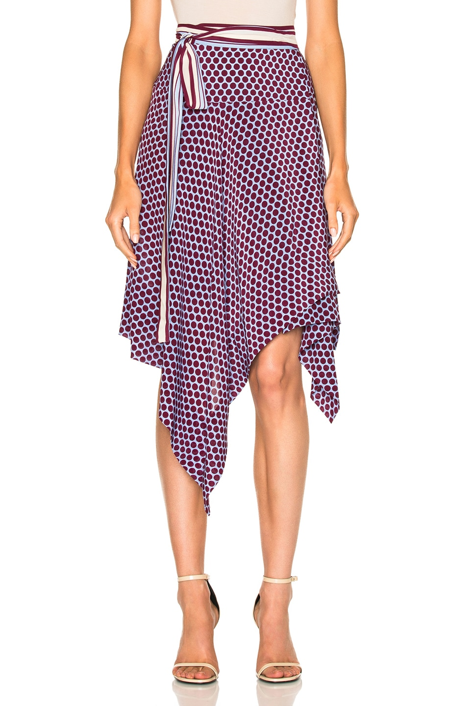 Image 1 of Alexis Danica Wrap Skirt in Purple Blue Polka Dot