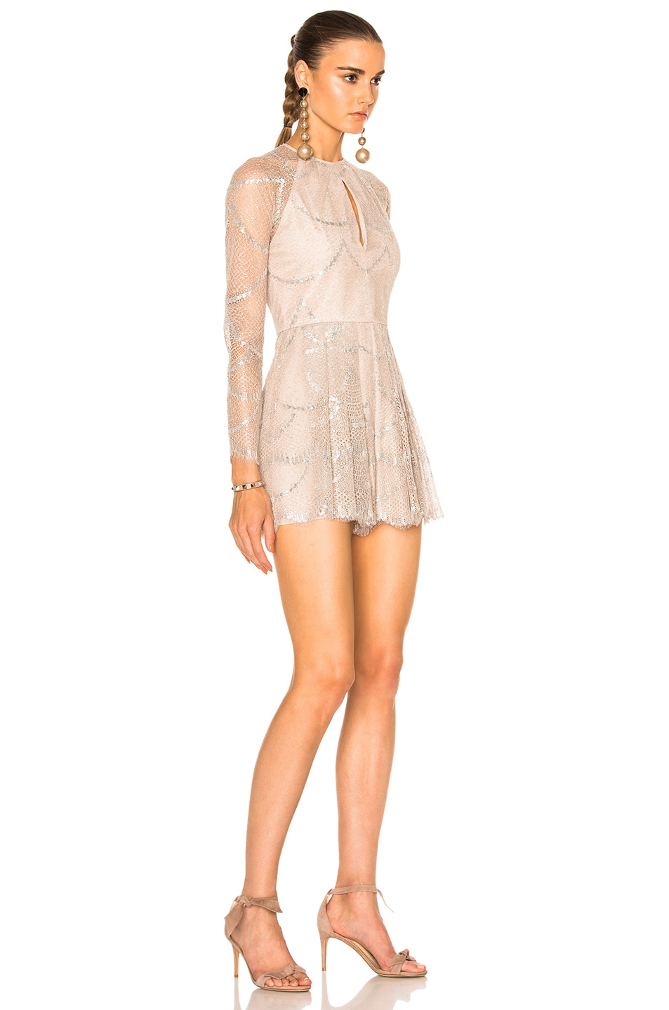 alexis chanelle romper in silver blush | fwrd