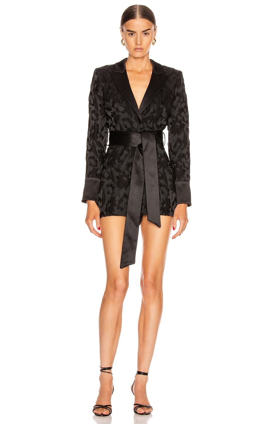 Image 1 of Alexis Ashling Romper in Black Floral Jacquard