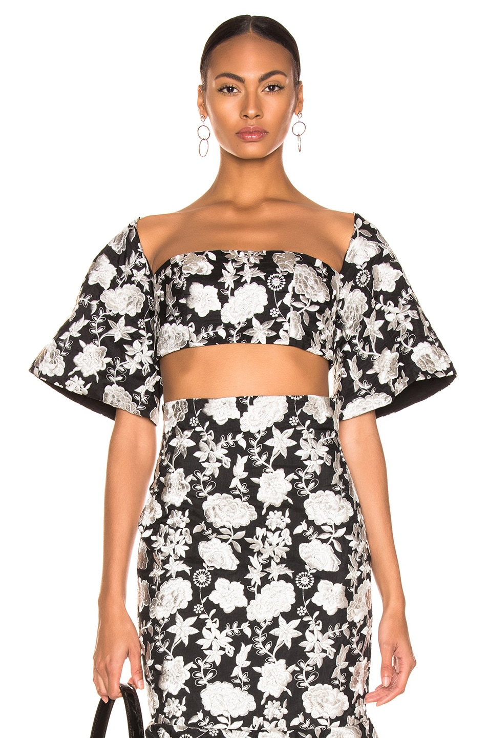 Image 1 of Alexis Tiras Top in Ivory Floral Embroidery