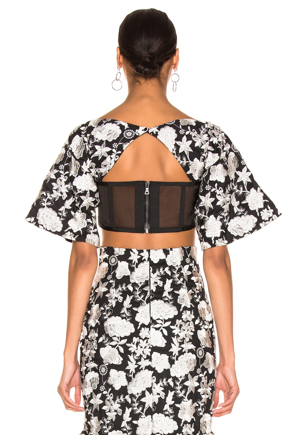 Image 3 of Alexis Tiras Top in Ivory Floral Embroidery