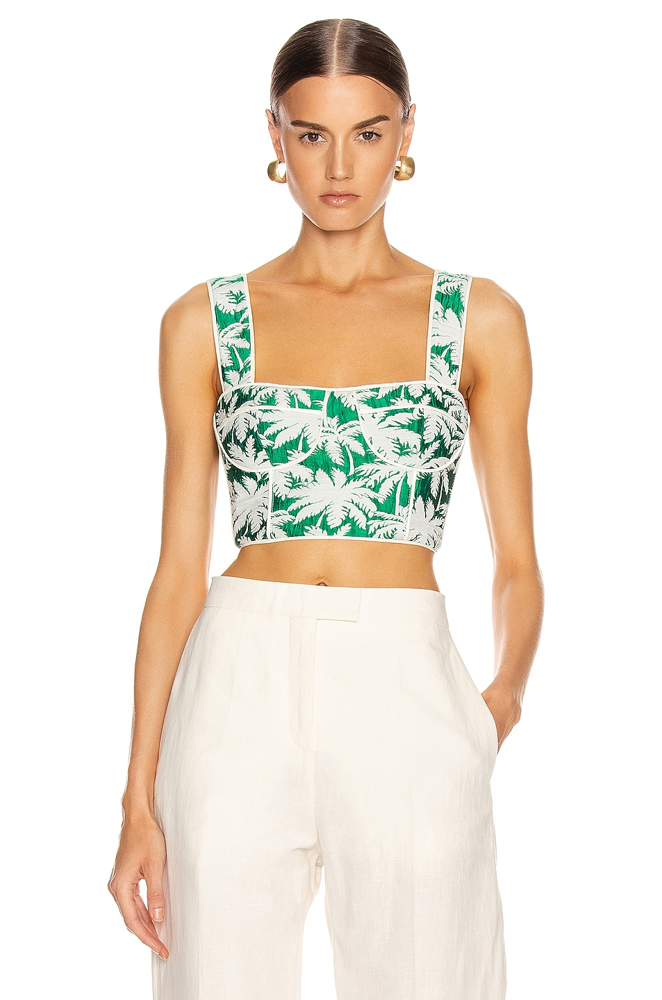 Image 1 of Alexis Kaela Bustier Top in Green Palm Jacquard