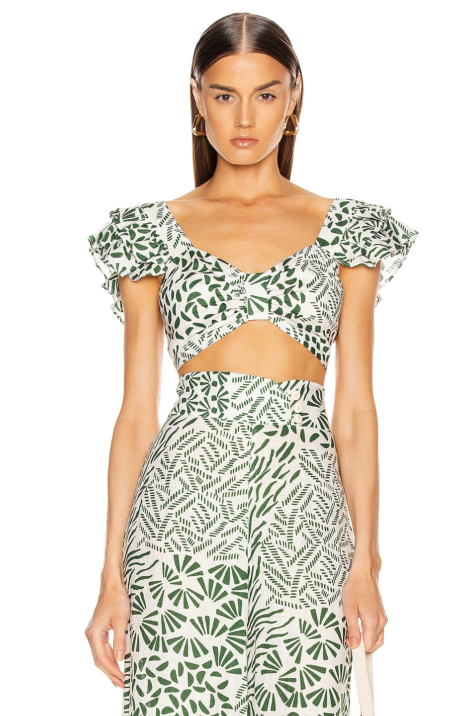Image 1 of Alexis Verna Top in Green Abstract