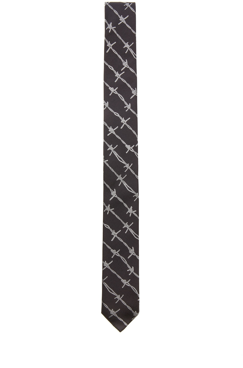 Alexander McQueen Barbed Wire Tie in Black & Light Grey | FWRD