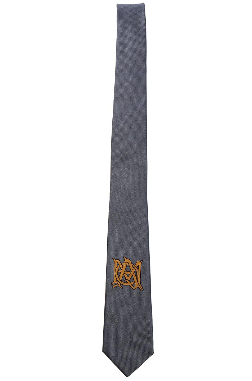 Image 1 of Alexander McQueen Logo Tie in Lead & Beige