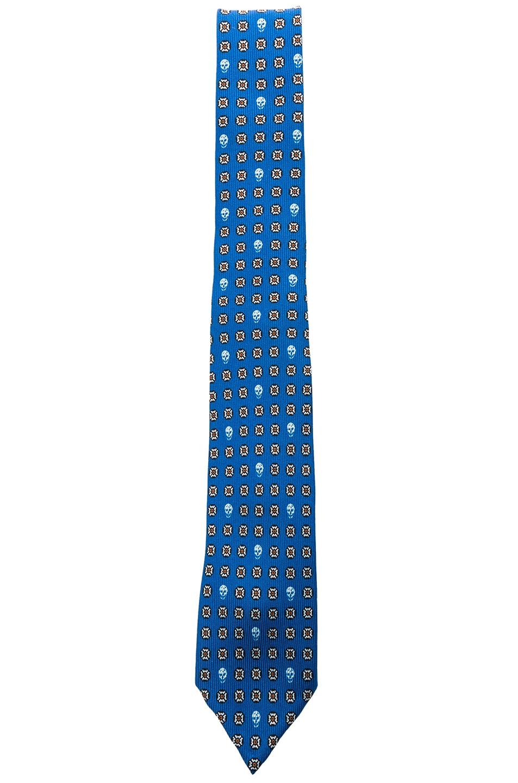 Image 1 of Alexander McQueen Micro Classic Tie in Bluette & Yellow