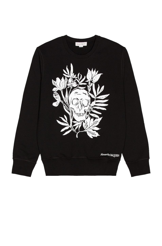 Image 1 of Alexander McQueen Skull Print Sweatshirt in Black