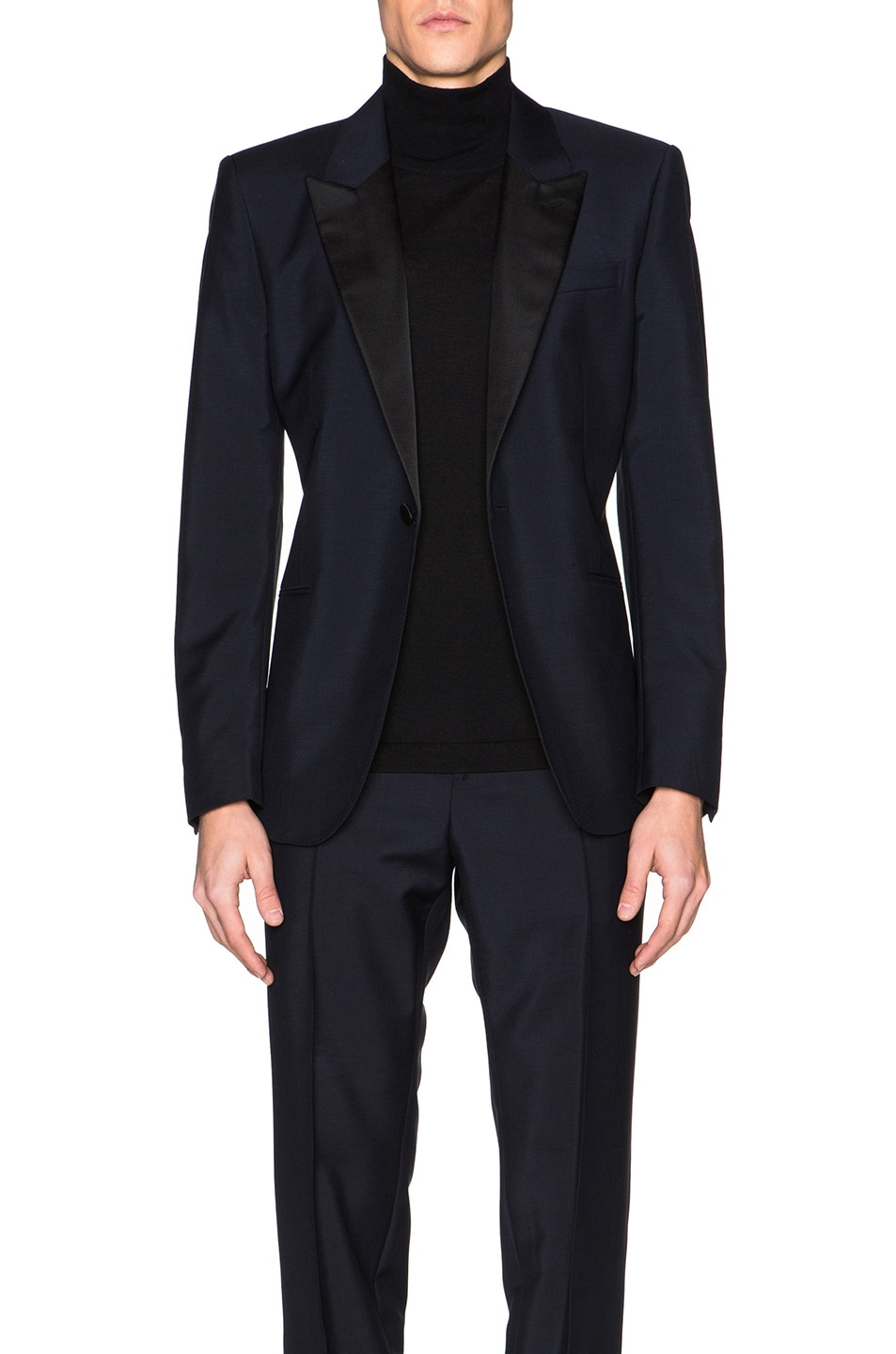Image 1 of Alexander McQueen Satin Lapel Blazer in Navy Blue