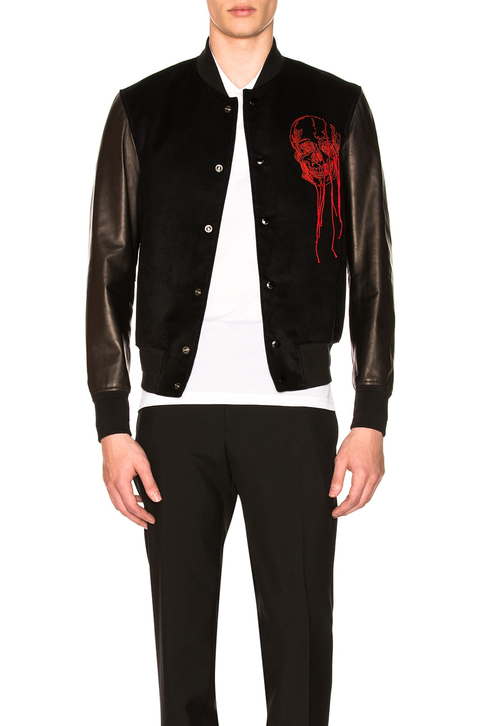 Image 1 of Alexander McQueen Leather Bomber Jacket in Black & Red