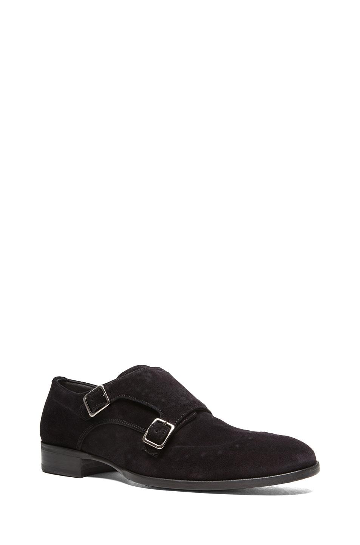 Image 1 of Alexander McQueen Double Buckle Monk Shoes in Black