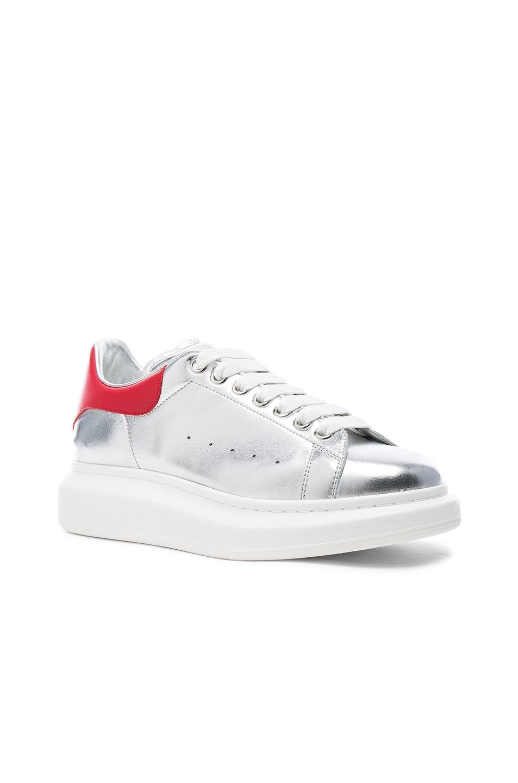 3656e5fbeaaa Image 1 of Alexander McQueen Platform Sneakers in Red   Silver