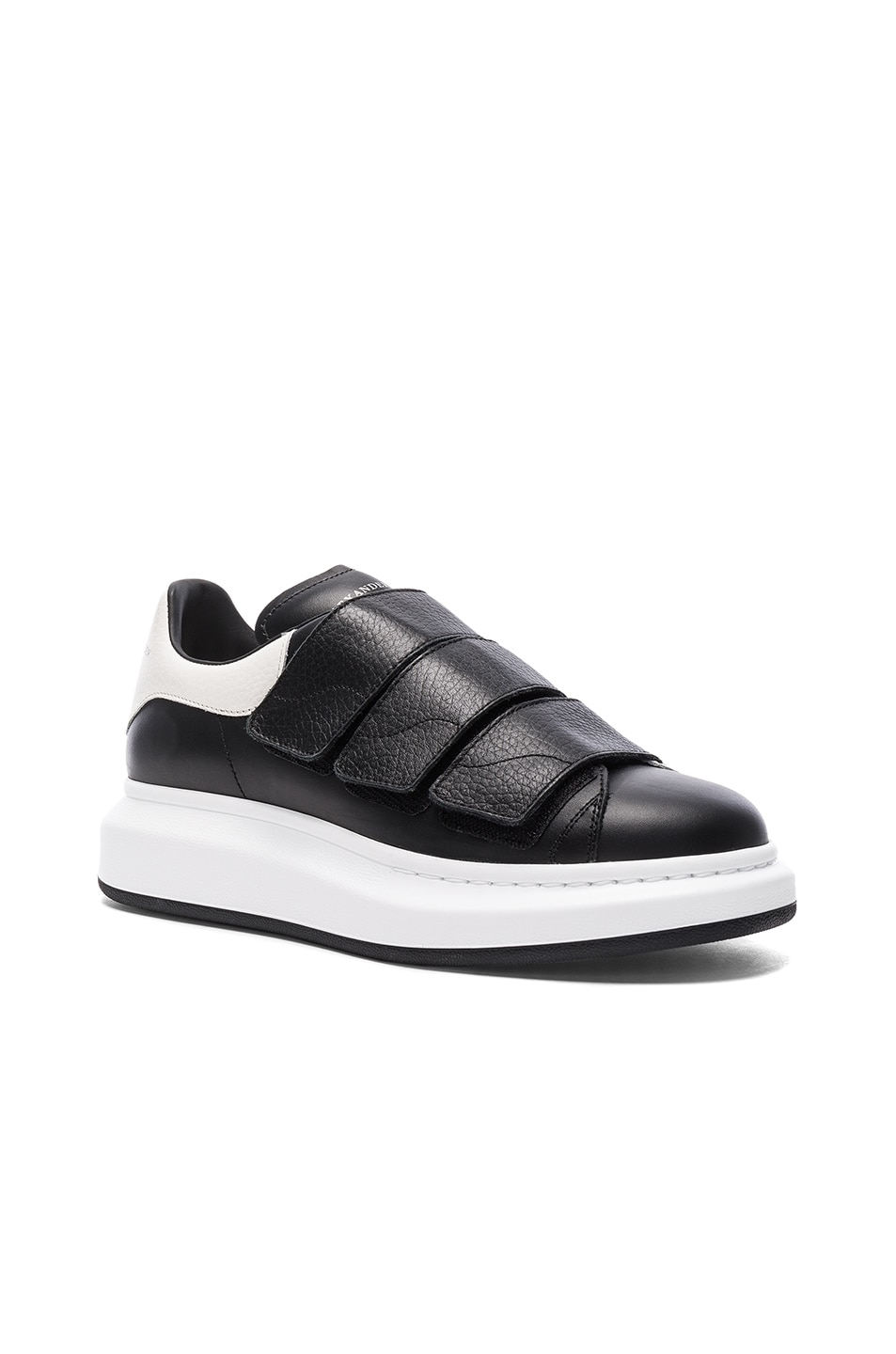 ddc66384 Image 1 of Alexander McQueen Leather Platform Velcro Sneakers in Black &  White