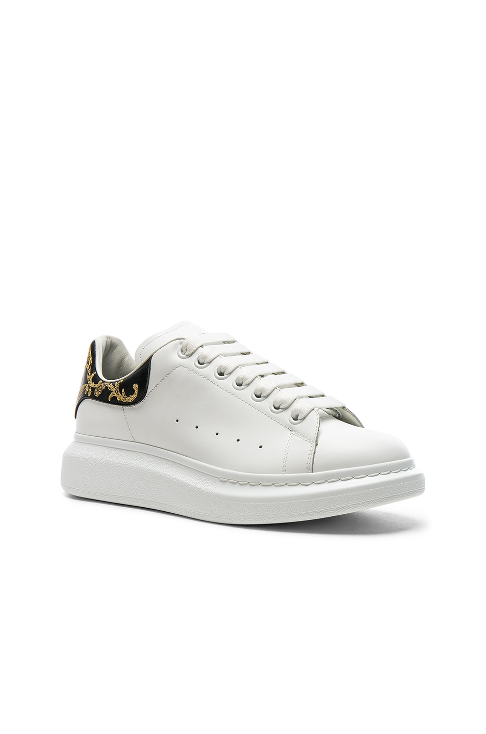 cdfde76c4d0e Image 1 of Alexander McQueen Leather Platform Sneakers in Black   White