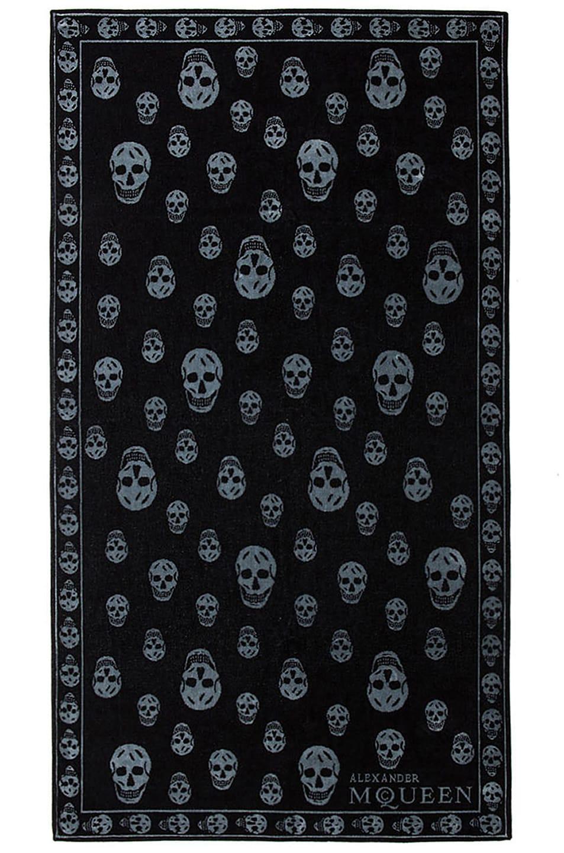 Image 1 of Alexander McQueen Skull Towel in Black & Grey