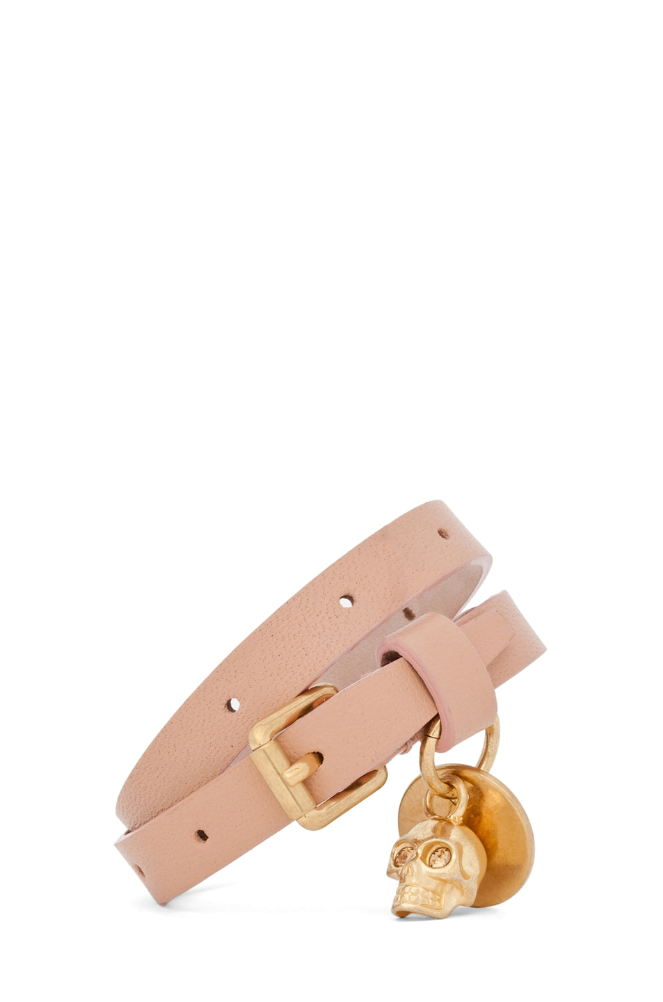 Image 1 of Alexander McQueen Skull Charm Double Wrap Leather Bracelet in Deep Blush
